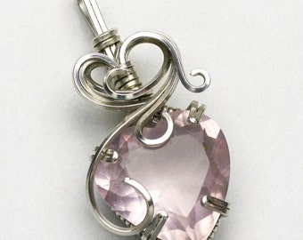 Rose Quartz Heart Swirls and Curls Argentium Sterling Silver Pendant