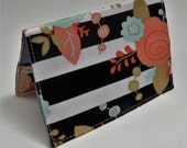 Passport Holder Cover Case Travel Cruise Vacation Holiday Honeymoon - Mod Flowers on Black/ White Stripe Fabric