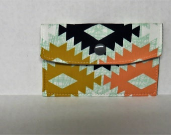 Mini Wallet - Gift Card Holder - Debit Credit Card Case -  Business Card Case  - Snap Closure - Agave Field April Rhodes Fabric Tribal