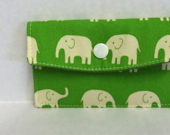 Mini Wallet - Gift Card Holder - Debit Credit Card Case -  Business Card Case  - Snap Closure - Cream Elephants on Green Fabric