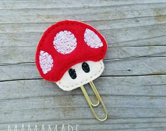 Mushroom Feltie - Planner Clip, Magnet or Hairclip (bookmark, planner or journal clip)