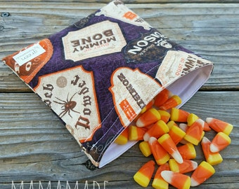 Halloween Haunted Potions - Medium Reusable Sandwich/Snack Bag from green by mamamade