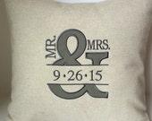 WEDDING Monogram Mr & Mrs Ampersand. And Symbol Sign. Monogram Pillow Cover. 18 x 18 Couples Anniversary Memory Keepsake Gift Bedroom Pillow