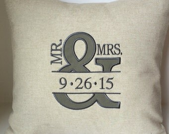 WEDDING Monogram Mr & Mrs Ampersand. And Symbol Sign. Monogram Pillow Cover. 18 x 18 Couples Anniversary Memory Keepsake Gift Bedroom Pillow