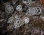 25/50 Gears Steampunk Mixed grab bag lot DIY jewelry making Charms Findings sm/med/lg