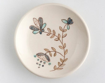 Floral ring dish - jewelry dish - trinket plate