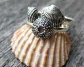 Seashell tiny TRIO rings stacker sterling silver mermaid stacking ring set of three Made to Order
