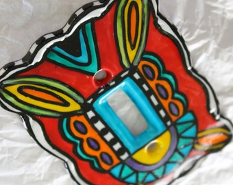 Her STAINED GLASS hand painted single toggle porcelain switch plate