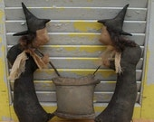ChristmasinJuly Sale Primitive Halloween Witches Stir Cauldron