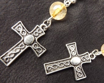 Citrine And Silver Celtic Crosses Ear Ornaments