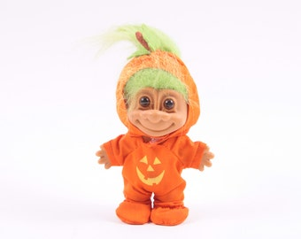 Vintage Russ Halloween Jack O Lantern Troll - Dressed Up Cute With Green Hair 161002A
