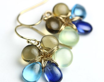 Kyanite Topaz Flower Earrings with Prehnite and Honey Quartz. Gemstone Flowers. Flower Jewelry.