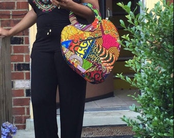 African Purse, Heart,  OOAK Bag, Tote, African, Ankara, Waxprint, Patchwork Bag