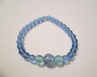 Blue and Aqua Glass Beaded Bracelet