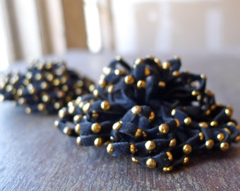 Victorian Era Brass Studded Suede Leather Epaulettes