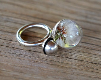 Dandelion Resin Ring, Sterling Silver Ring, Resin Jewellery