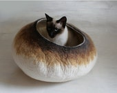 ON SALE till 30.09 Larger Size Cat Bed / Cave / House / Vessel - Hand Felted Wool - Latte Bubble Stone - Crisp Contemporary Design