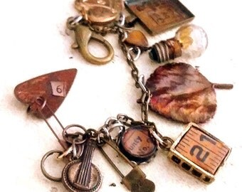 Vintage Treasures  Charm Bracelet  art jewelry recycle upcycle mixed metals charms boho artisan