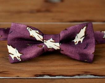 Mens Halloween Bow Tie - Purple Cotton Bow Tie - white ghost bow tie - mens Halloween gift - novelty holiday bow tie - spooky tie - pretied