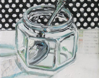 Black and White with Spoon original mixed media still life painting by Polly Jones