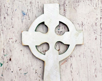 Large Celtic Cross, Reclaimed Wood Cross, Irish Decor, Gaelic Cross, White Wooden Cross, Nursery Decor, Irish Cross, Ireland Decor