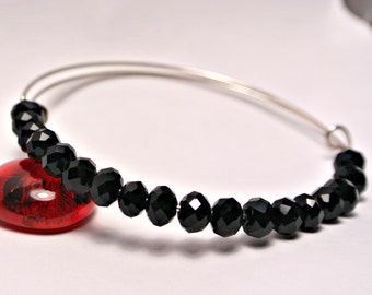 Jet Black Crystal Bracelet Adjustable Charm Bangle