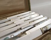 Set of a Dozen Silver and Mother of Pearl Knives in Presentation Case. Sterling Ferrules. American Made!
