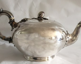 English Silver Teapot, Hallmarked Circa 1899. Detailed Finial, Handle and Spout. Gorgeous Rounded Shape.