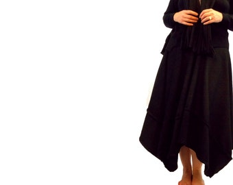 Long Asymmetric Fleece Skirt and Matching Fringe Scarf Flower Pin L XL Large