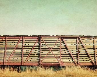 "train art, trains, industrial decor, rustic wall art, large wall art, large art, rustic home decor, fine art photography, art - ""Cattle Car"""