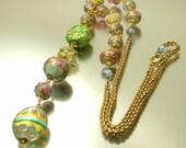 Vintage antique estate Art Deco 1930s gilt metal & pastel Venetian wedding cake glass lavalier lariat costume necklace - jewelry / jewellery