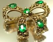 Vintage, estate 1950s/ 60s glam, dark gold tone & emerald green paste / rhinestone bow costume brooch / pin - jewelry jewellery