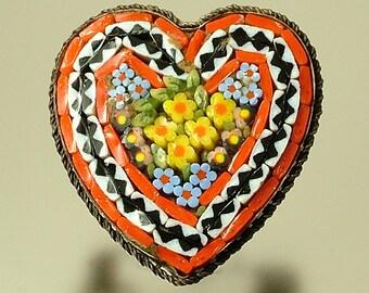 Vintage/ estate 1940s/ 50s Italian brass & Micro Mosaic, heart flower sweetheart costume brooch pin - jewelry jewellery