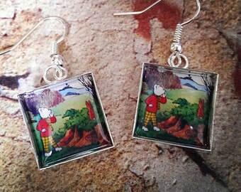 Vintage Rupert Bear Earrings