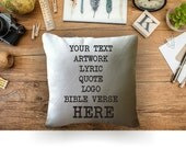 Custom pillow cover, custom text pillow cover