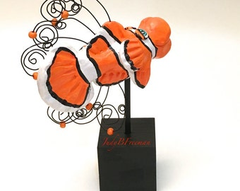 Fish Polymer Clay Figurine Sculpture Collectible and Cute Clownfish FS008