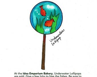 Underwater Lollipop Whimsical Postcard