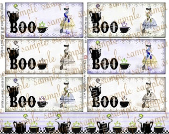 ART TEA LIFE Halloween Ghostly Marie Tags Collage Sheet border clip digital file scrapbook journal card invitation party favor antoinette
