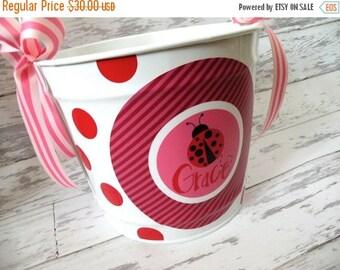 ON SALE personalized 10 QUART ladybug design monogrammed bucket