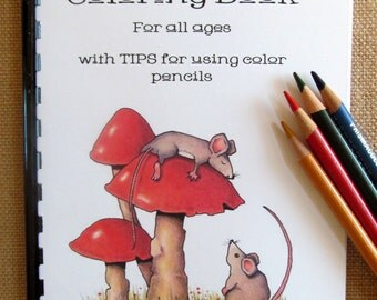 Little Coloring Book for All Ages, 19 Original Drawings, Hand Drawn, Simple OOAK Drawings to Color, with Color Pencil Tips, Samples