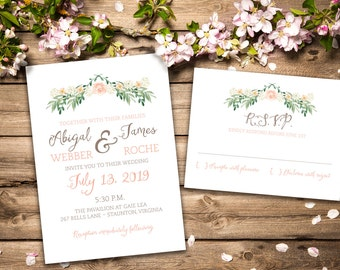 Vintage Inspired Romantic Wedding Invitation