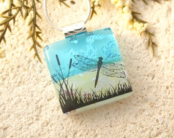Petite Dragonfly Necklace, Dichroic Jewelry, Dragonfly Necklace, Dichroic Glass Pendant, Fused Glass Jewelry, Necklace Included,  021016p102