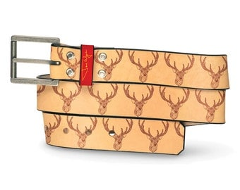 Deer Single Leather Belt, Animal Belt, Leather Belt Forest Creature