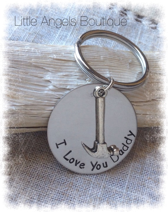 Daddy Father Personalized Custom Hand Stamped Keychain with Hammer Charm