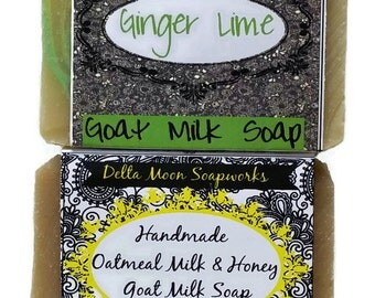Handmade Oatmeal Milk & Honey and Ginger Lime Goat Milk Soaps, Handmade Soap, oatmeal soap, avocado oil soap,  unisex soap, shaving soap