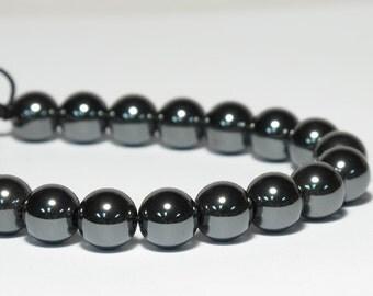 Hematite Wrist Mala, 21 Beads, 10mm, Short Mala, Metallic Black, Yoga Bracelet, For Men, Tibetan Buddhist, Prayer Beads, Adjustable, Strong