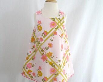Girls' Dress, Toddler Girls' Dress, Newborn Dress, Easter Dress, Easter Dress, Pink Garden Trellis Floral Dress - Size Newborn to Girls' 4T