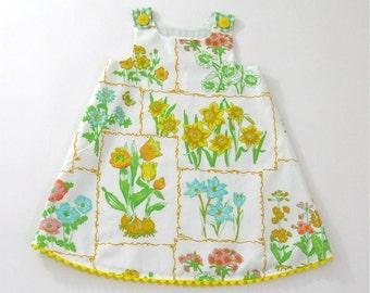 Garden Patch Girls Dress - Baby Dress - Toddler Girls Dress - Girls Sundress - Garden Floral Illustrations Dress  - Sizes Newborn to 4T