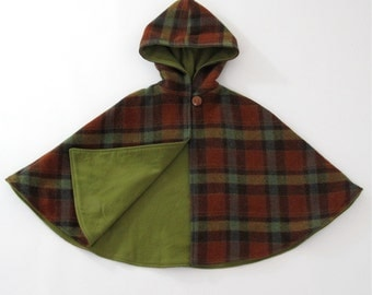 Rust Tartan Plaid Wool Hooded Children's Cape - Boy Girl Baby Toddler Kids | Sizes Newborn to Kid 10 - Cape, Cloak, Coat, Jacket, Hoodie