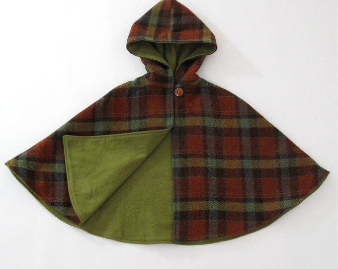 Plaid Wool Hooded Cape, Boys Cape, Girls Cape, Toddler Cape, Baby Cape, Tartan Cape, Boys Cloak, Winter Coat, Jacket, Girls Capelet, Poncho